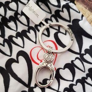 NWT Brighton Swarovski Crystal Heart Key Ring